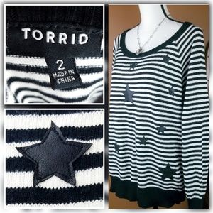 Torrid Vegan Leather Star Sweater
